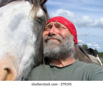 Horse and person making funny face