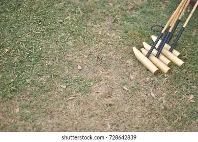 Horse polo mallet on grass.