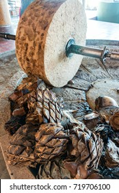 Horse powered stone grinding wheel used in the production of mezcal in Oaxaca, Mexico