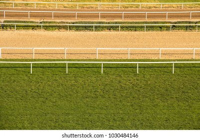 Horse racecourse rails and track