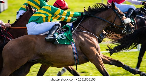 Horse racing action, close up on race horse and jockey galloping at speed for first place position, motion blur speed effect
