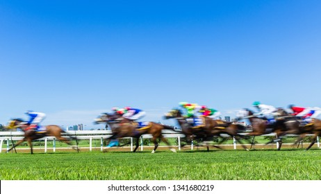 Horse Racing animals jockeys running grass track in a speed motion blur action photo.