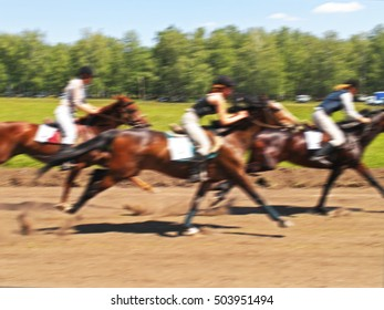 horse racing competition race at high speed, blur image abstract