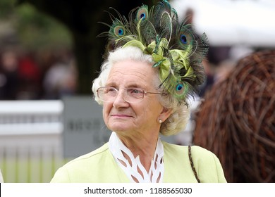 HORSE RACING - Elegant smart elderly lady wearing peacock feathered hat smiling during Ladies Day at Thirsk Races : Thirsk Racecourse, Nth Yorkshire, UK : 8 September 2018 : Pic Mick Atkins