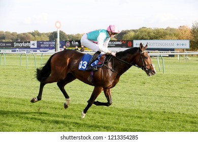HORSE RACING - The Frankel colt Collide ridden by James Doyle and owned by Mr K Abdullah wins at Nottingham Races : Colwick Park, Nottingham, UK : 17 October 2018 : Pic Mick Atkins