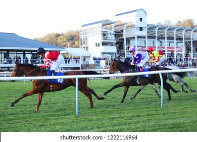 HORSE RACING - Horses passing the Grandstands whilst approaching the first turn during a 1m 6f Race at Nottingham Races : Colwick Park, Nottingham, UK : 31 October 2018 : Pic Mick Atkins