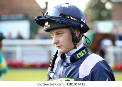 HORSE RACING - Jockey Cieren Fallon, son of former champion jockey Kieren Fallon, makes his racing debut at Thirsk Races : Thirsk Racecourse, Nth Yorkshire, UK : 31 August 2018 : Pic Mick Atkins