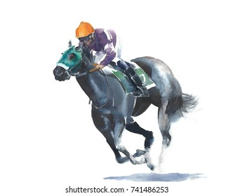 Horse Racing Jockey Competition Black Watercolor Painting Illustration Isolated On White Background