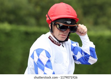 HORSE RACING - Jockey Franny Norton adjusts his goggles at Nottingham Races : Colwick Park, Nottingham, UK : 17 August 2018 : Pic Mick Atkins