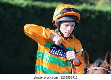 HORSE RACING - Jockey Theodore Ladd adjusts his reins at Nottingham Races :  Colwick Park, Nottingham, UK : 10 October 2018
