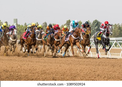 Horse racing at King Khalid Racetrack, Taif, Saudi Arabia. 21 July 2017