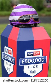 HORSE RACING - Last years Winners Riding Hat on the Podium prior to the 2018 £500,000 Sky Bet Ebor during York Races : York Racecourse, Nth Yorkshire, UK : 25 August 2018