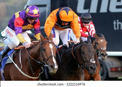 HORSE RACING - Lucky Deal and Franny Norton and Potters Lady Jane ridden by Paul Hanagan play out a driving finish at Nottingham Races :Colwick Park, Nottingham, UK : 31 October 2018 : Pic Mick Atkins