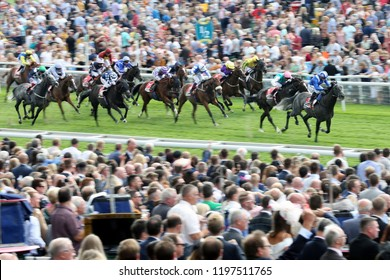 HORSE RACING - Muntahaa ridden by Jim Crowley Winning the £500,000 Sky Bet Ebor Handicap, camera pan slow shutter speed for blur : York Racecourse, Nth Yorkshire, UK : 25 August 2018