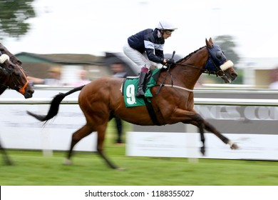 HORSE RACING - Racehorse Be Perfect ridden by James Sullivan, taken with slow shutter speed for  blurred background : Thirsk Racecourse, Nth Yorkshire, UK : 8 September 2018 : Pic Mick Atkins