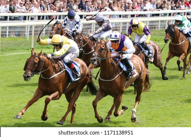 HORSE RACING - Racehorse Flying Pursuit ridden by Nathan Evans winning the £50,000 Sky Bet Dash at York Races : York Racecourse, Nth Yorkshire, UK : 28 July 2018 : Pic Mick Atkins