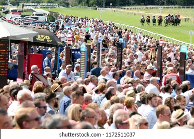 HORSE RACING - Racehorses in action and galloping down the home straight in ffron of a packed crowd at Thirsk Races : Thirsk Racecourse, Nth Yorkshire, UK : 4 August 2018 :