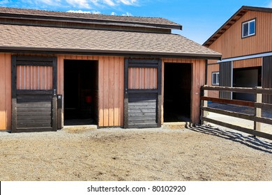Horse ranch in Washington State with two large barns