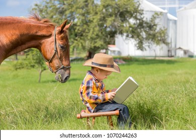 Horse reading a book with the child