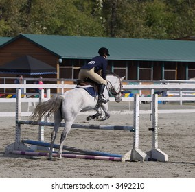 horse and rider taking hurdle