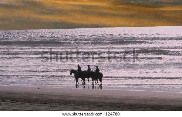 Horse riders on the beach
