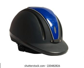 Horse riding black helmet  isolated