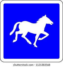 Horse riding blue road sign