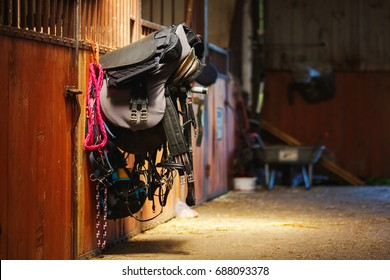 Horse riding equipment is hanging on a door in a stable