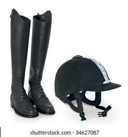 horse riding helmet and boots