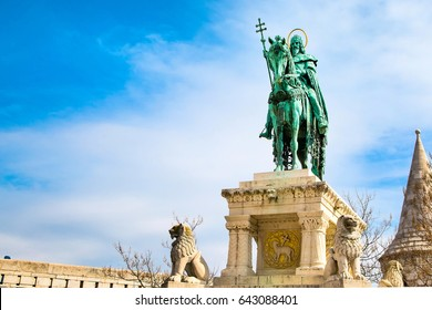 Horse riding statue of Stephen I of Hungary, Fishermen's Bastion, Budapest, Hungary. Place for text