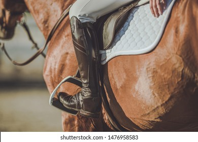 Horse Riding Stirrups and Shoes. Equestrian Accessories and Equipment. Closeup Photo.