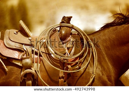 A horse and saddle in a sepia tone.