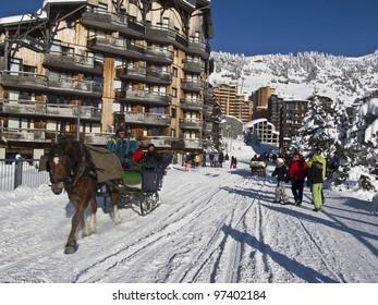 A horse sledge in the ski resort of Avoriaz in France,