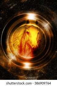 Horse in space, in circle light. Mirror on the planet Earth. Animal concept, Sepia and light Golden color