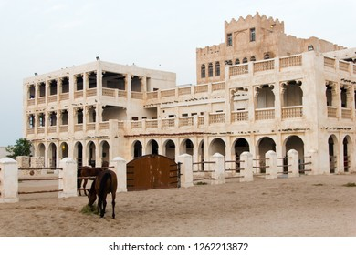 Horse stalls where the horses are raised and kept for patroulling the city with the Qatari guards to keep Doha safe and secure.