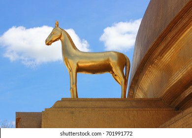 Horse statue ,the animal statue is located above the arches of the Great Pagoda , Wat Bowonniwet Vihara,Bangkok ,Thailand.