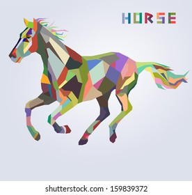 Horse symbol of New Year 2014 trendy hipster style
