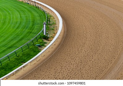 Horse Track After Morning Workouts with hoof prints