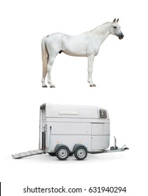 horse and horse trailer isolated