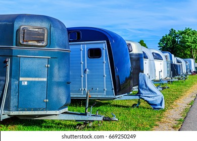 Horse trailers in the Parking area
