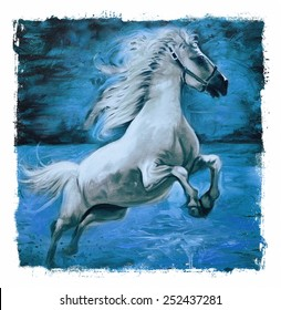 Horse Vintage painting  Blue Torn edges