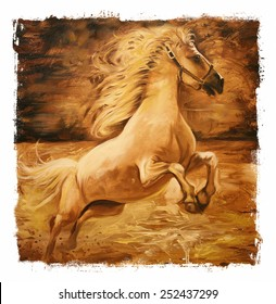 Horse Vintage painting  gold Torn edges