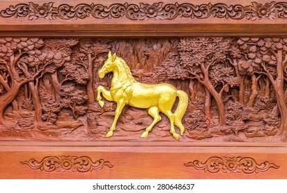 Horse wood carvings in thai land