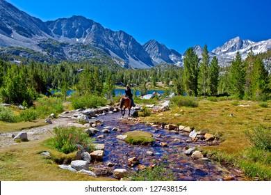 Horseback Rider in Mountains, Eastern Sierra, California