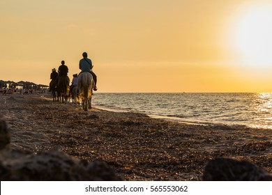 A horseback riders at the beach during the summer sunset