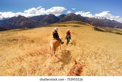 Horseback riding in Andes mountain
