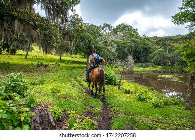 Horseback riding at the forest of Miraflor Natural Reserve, Nicaragua