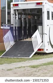 Horseboxes before loading.