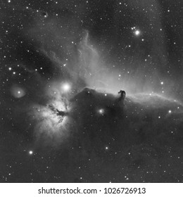Horsehead (IC 434) and Flame (NGC 2024) Nebula in Hydrogen alpha filter in Orion constellation at the telescope.
