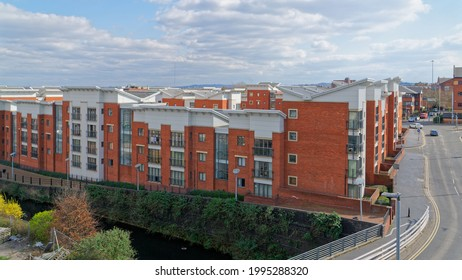 Horseley Fields estate, situated along canal in Wolverhampton. April 16, UK 2021